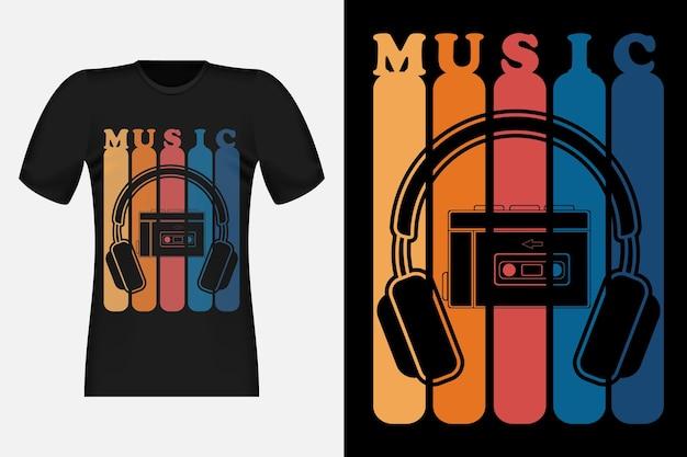 ウォークマンミュージックシルエットスタイルヴィンテージレトロtシャツデザイン