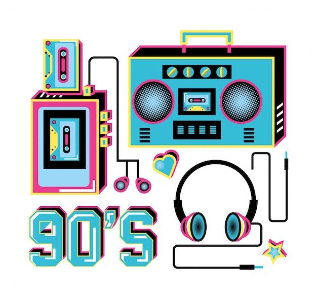 レトロな90年代のヘッドフォンとラジオのウォークマン