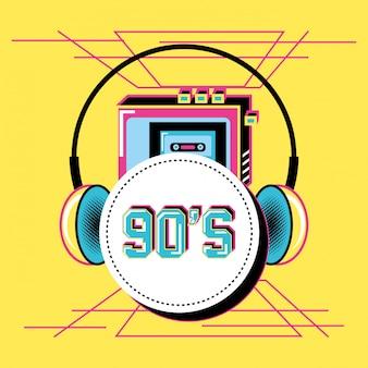 Walkman with headphones of nineties retro