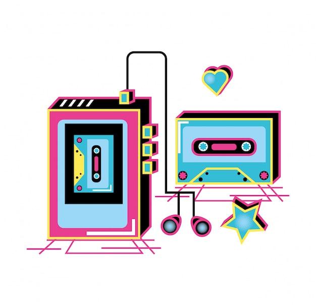 Walkman с наушниками и кассетой девяностых ретро