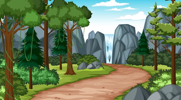 Walkway through the forest into waterfall landscape scene