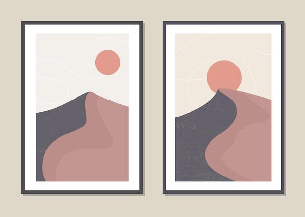 사막 모래 언덕의 벽 예술 풍경입니다.