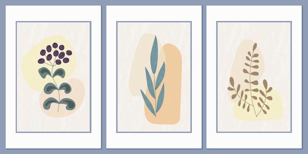Настенное искусство полевой травы на фоне абстрактных геометрических фигур