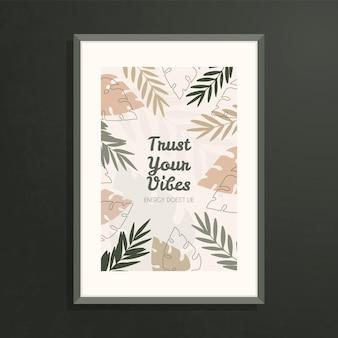 Настенное искусство, плакат с абстрактными ботаническими формами и листьями в пастельных естественных тонах.