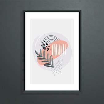 Настенное искусство, плакат с абстрактными ботаническими формами и листьями.
