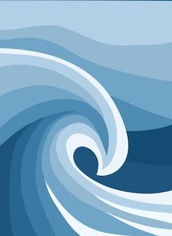 추상 바다 파도와 벽 예술 포스터