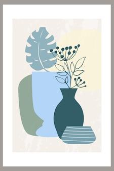 꽃병에 단순한 모양과 잎이 많은 식물의 추상적 구성이 있는 벽 예술 포스터