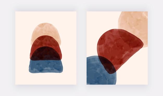 Настенные принты с синими бежевыми и терракотовыми акварельными формами