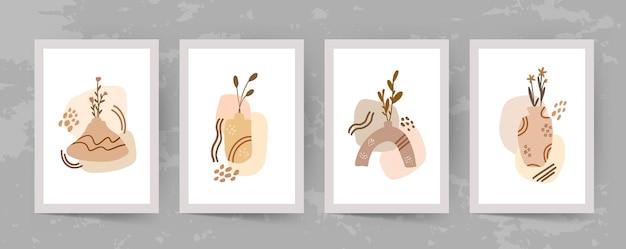 벽 예술 모양과 잎 boho 현대 미니멀리스트 클립 아트 추상