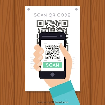 Wall background scanning qr code