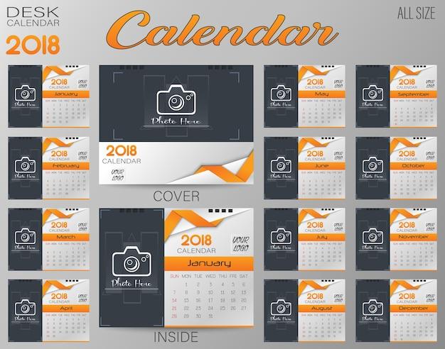 Wall calendar for 2018 year