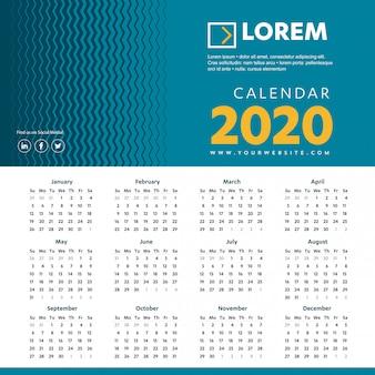 Wall calendar 2020 colorful template