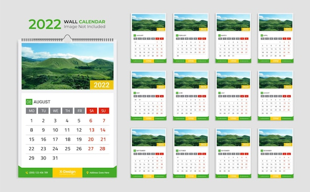 Wall calendar for 2020 month date palenner