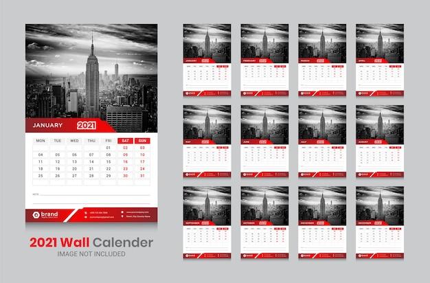 壁掛けカレンダー2021テンプレート