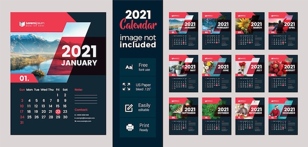 Wall calendar 2021 with dark & red layout