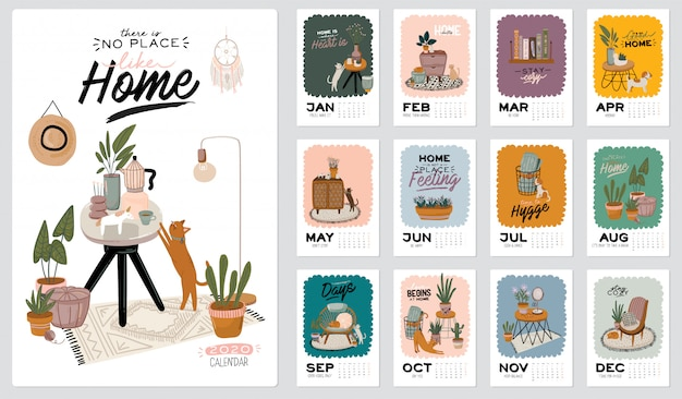 Wall calendar. 2021 yearly planner with all months. cute home interior background.