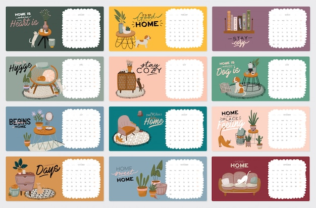 Wall calendar. 2021 yearly planner with all months. cute home interior illustrations. motivational quote lettering