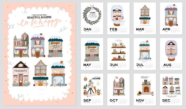 壁掛けカレンダー。 2021年のすべての月の年間プランナー。良い主催者とスケジュール。かわいい冬の家の背景。動機付けの引用レタリング。