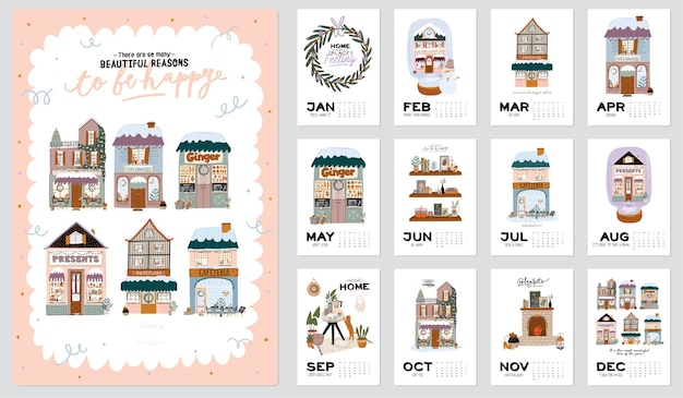 Wall calendar. 2021 yearly planner with all months. good organizer and schedule. cute winter house background. motivational quote lettering.
