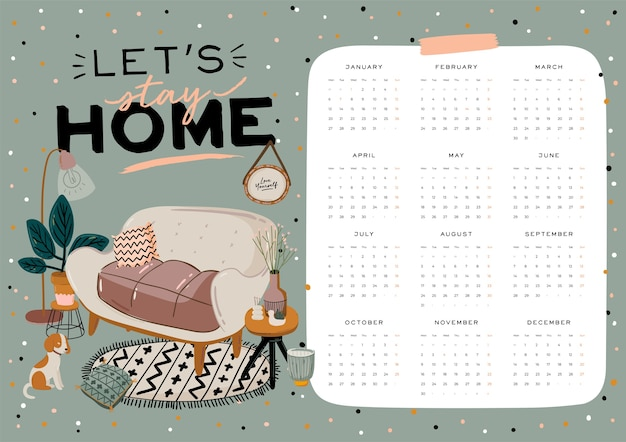 Wall calendar. 2021 yearly planner with all months. good school organizer and schedul