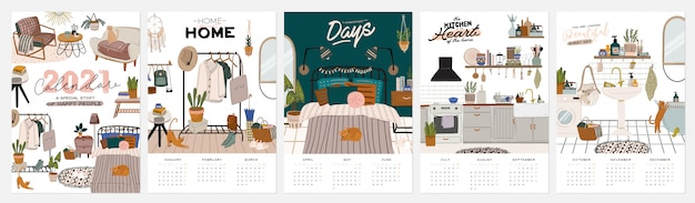 Wall calendar. 2021 yearly planner with all months. good school organizer and schedule. cute home interior background. motivational quote lettering.