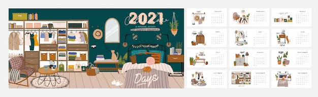 Wall calendar. 2021 yearly planner with all months. good school organizer and schedule. cute home interior background.