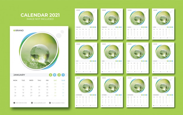 Wall calendar 2021 Premium Vector