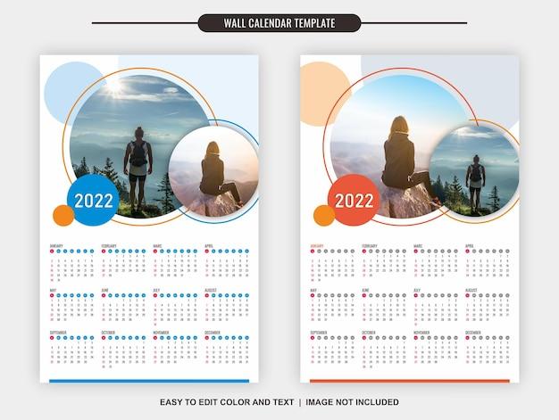 Настенный календарь 2022 шаблон 12 месяцев с чистым и простым дизайном