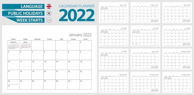 Планировщик настенного календаря на 2022 год. английский язык, неделя начинается с понедельника.