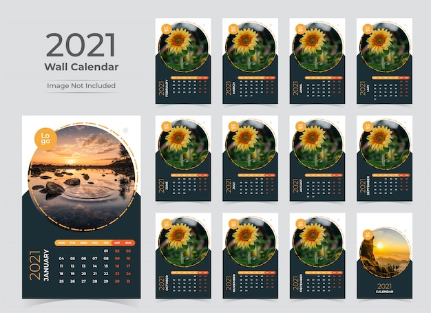 Wall calendar planner template for 2021 year
