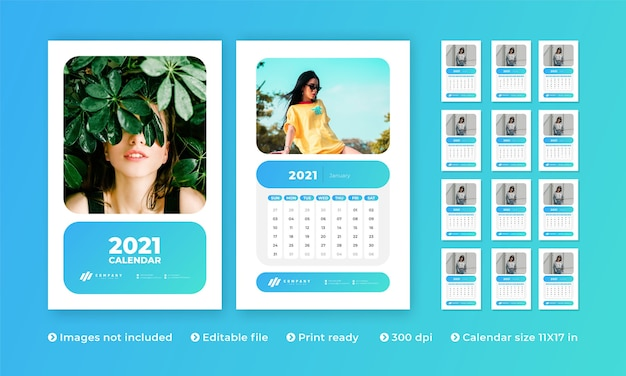 Wall calendar with modern creative design and  to  month Premium Vector
