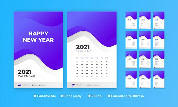 Wall calendar with modern creative