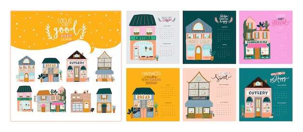 壁掛けカレンダー。すべての月を含む年間プランナー。良い主催者とスケジュール。かわいい家の背景。動機付けの引用レタリング。