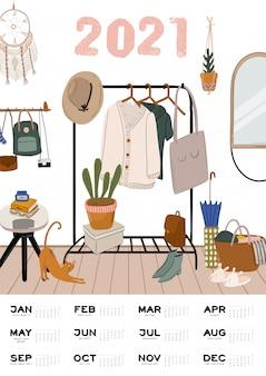 壁掛けカレンダー。すべての月を含む年間プランナー。良い学校の主催者とスケジュール。かわいいホームインテリアの背景