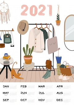 Wall calendar.  yearly planner with all months. good school organizer and schedule. cute home interior background
