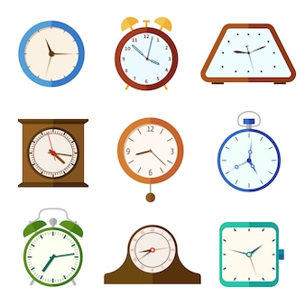 Wall clock and alarm clocks, time flat icons