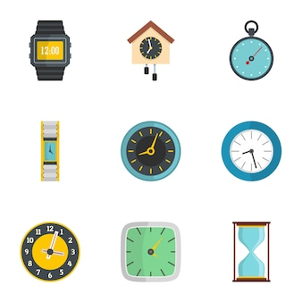 Wall clock icons set. flat set of 9 wall clock icons