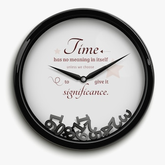 Wall clock in original design with time stopped isolated on white background