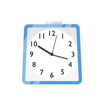 Wall clock, watches flat vector illustration. scheduling, time management and planning. hours, minutes and seconds measurement symbol. blue wall clock icon isolated on white background.