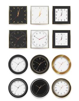 벽 시계. 다른 모양과 색상의 흰색과 검은 색 다이얼 타이머 그림을 설정합니다. 배경에 실버, 다크 메탈, 골드 프레임 컬렉션이있는 현실적인 원형과 사각형 벽 시계