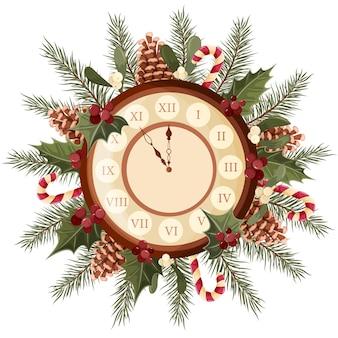クリスマスツリーの枝の花輪が付いている壁時計はヒイラギの葉とヤドリギを円錐形にします