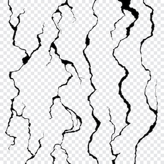 Wall cracks isolated on transparent