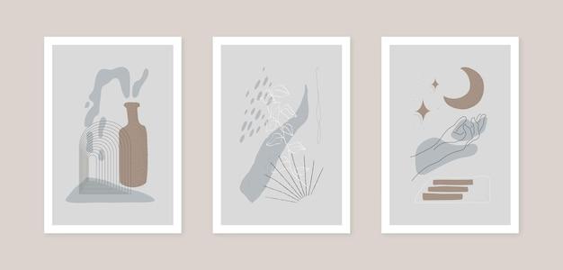 Коллекция векторных искусства украшения стены. иллюстрация формы абстрактного искусства. модный современный постер
