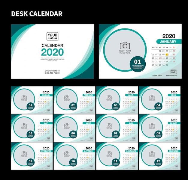 Wall desk calendar template for 2020 year. vector design print template