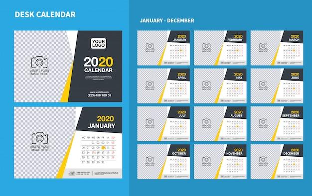 2020年の壁デスクカレンダーテンプレート。ベクターデザインの印刷テンプレート