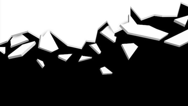壁の爆発の破片。抽象的な爆発の背景。黒と白。