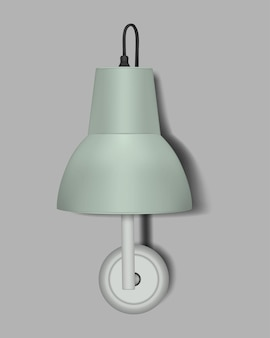 ミント色のランプシェード、リアルなベクトルイラストと壁ランプ。モダンなインテリアナイトライト