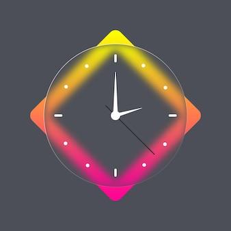 壁のオフィスの時計のアイコン。ガラス形態。時間と時計のアイコン。ベクトルモバイルui。 uiuxホワイトユーザーインターフェイス。