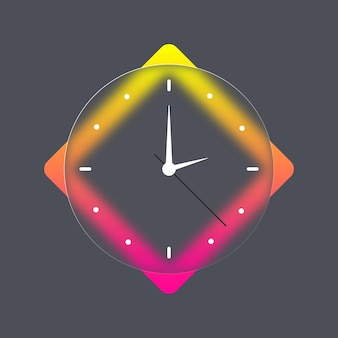 Wall office clock icon. glassmorphism. time and clock icons. vector mobile ui. ui ux white user interface.