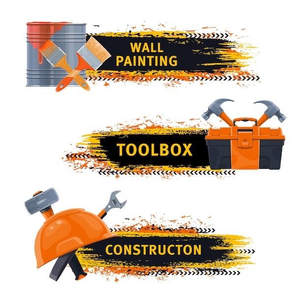 Wall painting and construction tools banners
